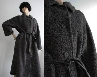 Vintage 1970s Aquascutum Grey Wool Winter Coat UK 10-12