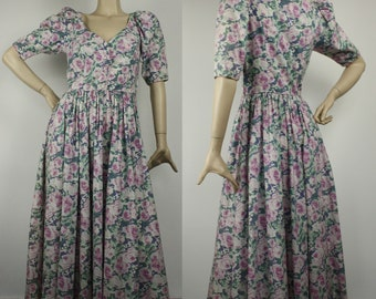 907e058cf76 Vintage 1980s LAURA ASHLEY Cotton Floral Summer Midi Dress UK 8 - 10