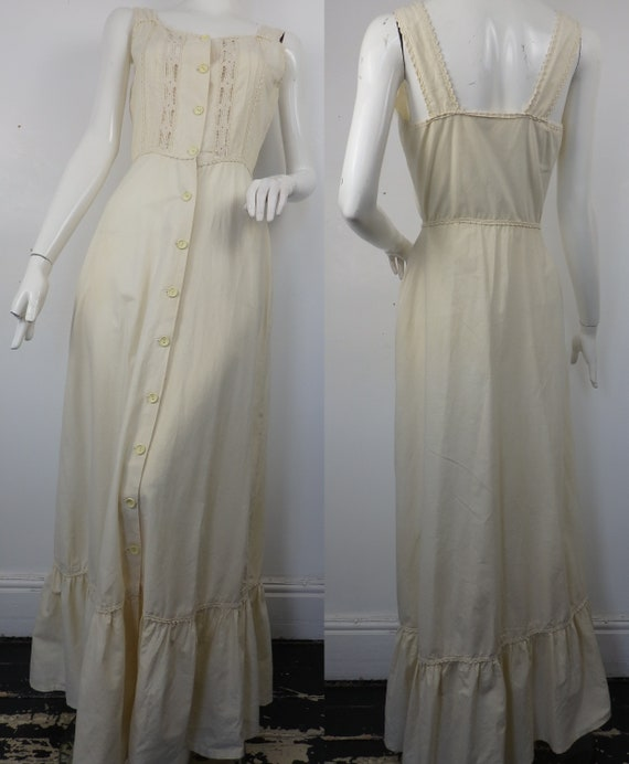 1960s Boho Maxi Dress / Vintage 1960s Cotton Sun D