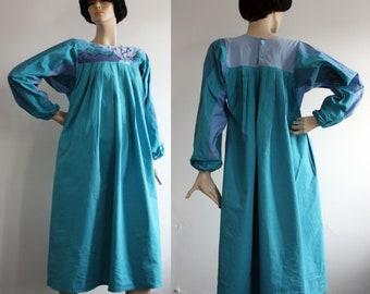 Vintage 1970s Seascape Applique Cotton Smock Dress 70s