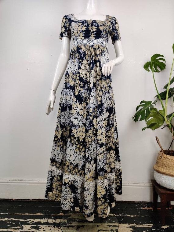 1970s Empire Cut Maxi Dress / Vintage Maxi Dress /