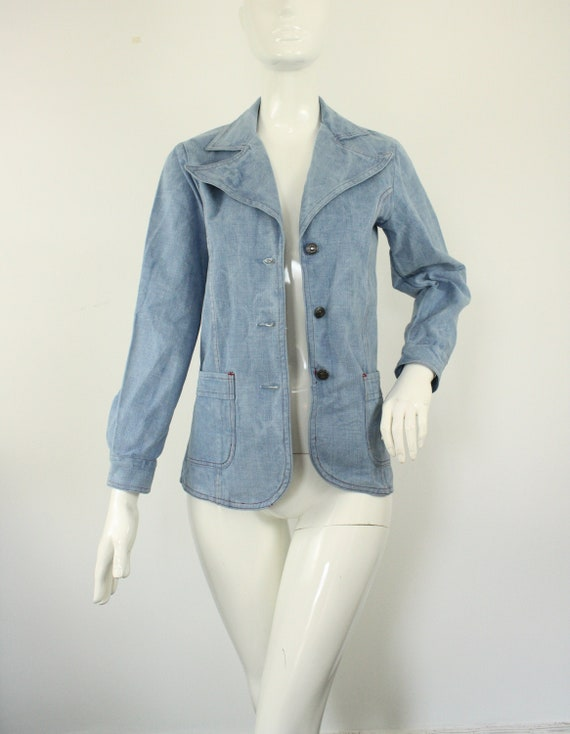 Vintage 1970s Denim Jacket, 70s Blazer, Denim Blaz