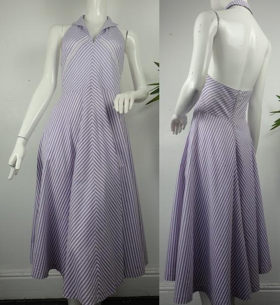 1970s Halterneck Sun Dress / Vintage Stripe Sun Dr