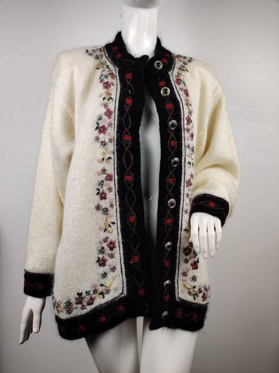 1980s Mohair Cardigan / Vintage Cardigan / 1980s K