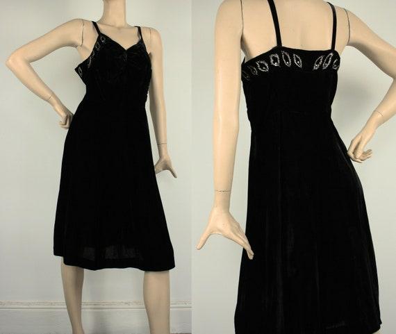 Vintage 1930s Art Deco Black Silk Velvet Slip Dres
