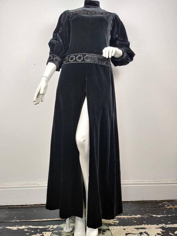 1960s Diorling by Christian Dior Black Velvet Maxi