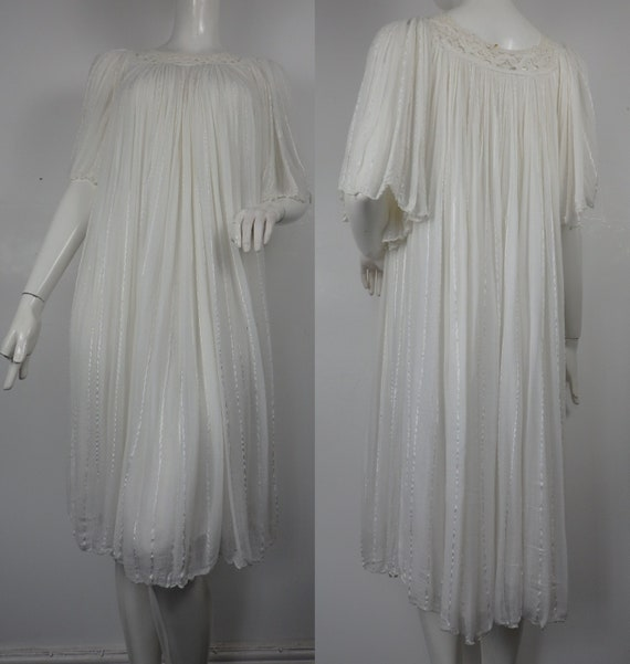 1970s Cheesecloth Smock Dress / Vintage Smock Dres