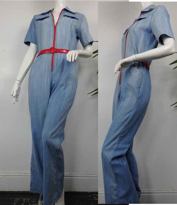 1970s Denim Jumpsuit / Vintage 70s Boilersuit / Vi