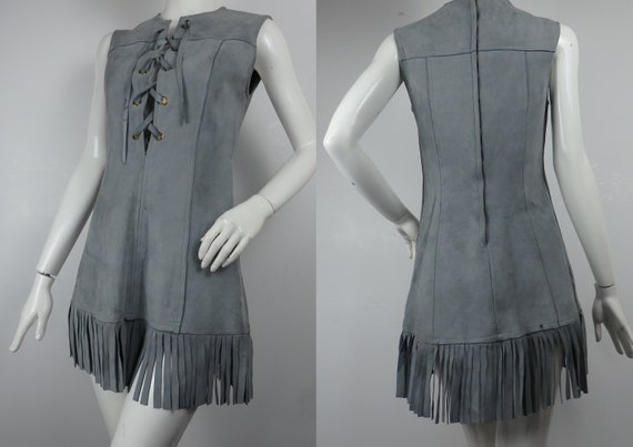 Vintage 1960s Suede Mini Dress, 60s Mini Dress, 60