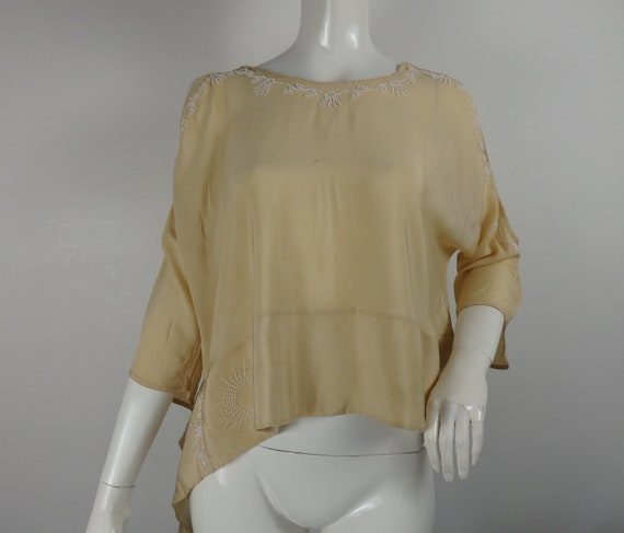 RARE 1920s Flapper Silk Blouse, 1920s Silk Blouse,