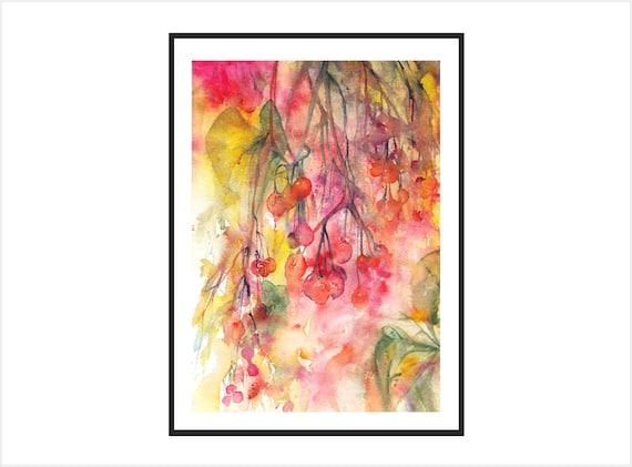 Red berries painting, autumn berries art print, botanical art prints, floral art print,floral home decor winter watercolors kitchen wall art