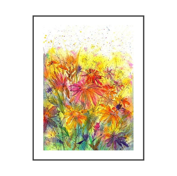 Acrylic Art Sunshine Daisy Small Painting 5x5 Daisy Painting Flower Painting ORIGINAL Original Art Pink and Yellow Flower Painting