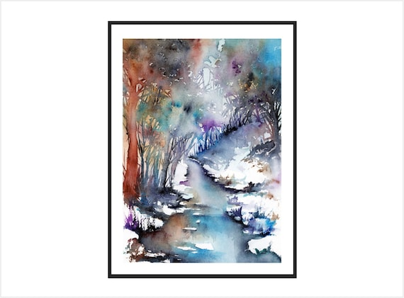 Winter landscape painting Forest art print giclee river art print home wall art woodland painting ethereal meditation art tree painting