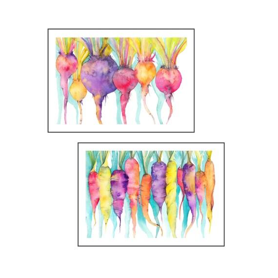 Kitchen art prints set watercolor art prints food wall art food paintings vegetables art prints watercolor veg kitchen pop art colorful art