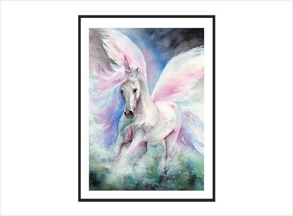 Unicorn nursery art print,unicorn painting, fairytale watercolor painting, ethereal art, white horses, unicorn gift, meditation art mythical