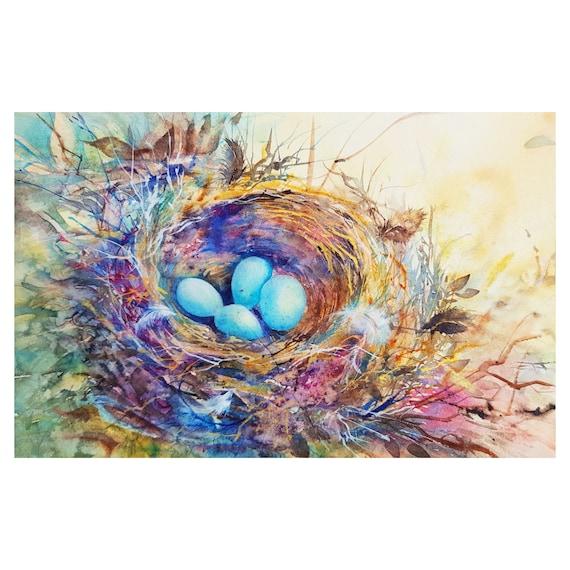 ORIGINAL WATERCOLOR painting robins nest painting original artwork birds nest botanical watercolors painting of birds eggs wild birds nest