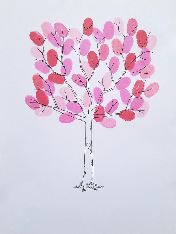 Wedding Tree Fingerprint Tree Thumb Print Guest Book Finger Etsy