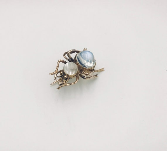 Gold and Moonstone Spider Brooch
