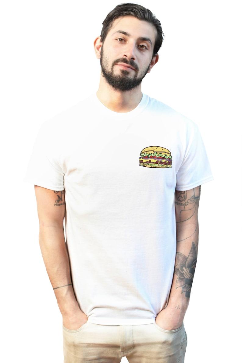 5bc6eaa5 Burger Men's T Shirt Rap Hip Hop Front Pocket Back Print | Etsy