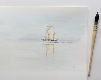 """Original watercolor painting, Sailboat, seascape, mist, """"The Mutineer in the mist"""""""