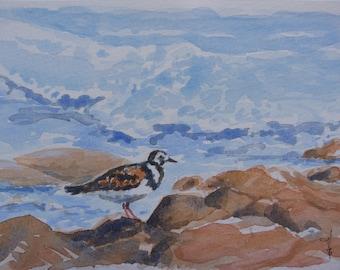"Original watercolor painting: ""The tide"", sea, bird, wave"