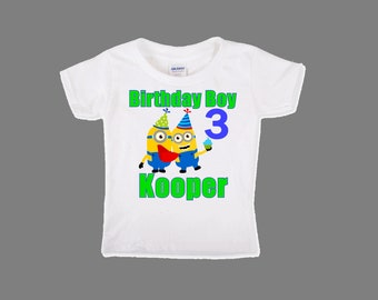 Boys Minion Birthday Shirt Minions First Custom Personalized Bodysuit