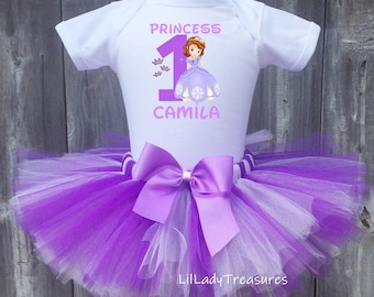 Sofia Sophia the Princess Baby Girl 1st First Birthday Tutu Outfit Shirt Set