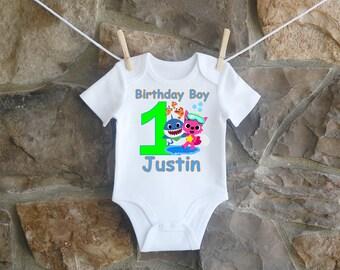 Boys Baby Shark Birthday Shirt Custom Bodysuit Personalized