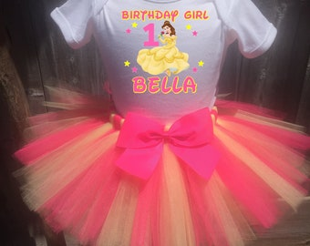 Belle Birthday Outfit, Belle First Birthday Outfit, Custom Belle Birthday Tutu Set, Personalized Beauty And The Beast Birthday Shirt