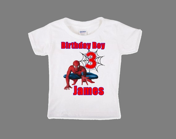 Boys Spiderman Birthday Shirt First Custom
