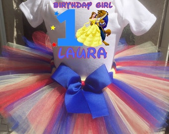 Beauty And The Beast Birthday Outfit, Beauty And The Beast First Birthday Outfit, Custom Beauty And The Beast Birthday Tutu Set, Belle Shirt