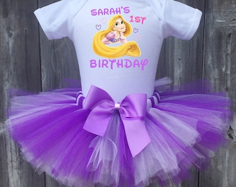Rapunzel Birthday Outfit, Rapunzel First Birthday Outfit, Custom Tangled Rapunzel Birthday Tutu Set, Personalized Rapunzel Birthday Shirt