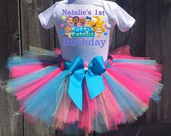 Bubble Guppies Birthday Outfit, Bubble Guppies First Birthday Outfit, Custom Bubble Guppies Birthday Tutu Set, Personalized Bubble Guppies