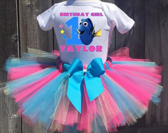 Dory Birthday Outfit, Dory First Birthday Outfit, Custom Finding Dory Birthday Tutu Set, Personalized Dory Birthday Shirt, Dory Tutu