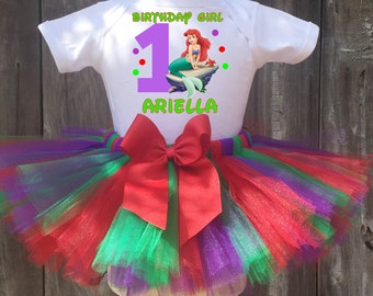 Ariel Birthday Outfit, Ariel First Birthday Outfit, Custom The Little Mermaid Birthday Tutu Set, Personalized Ariel Birthday Shirt