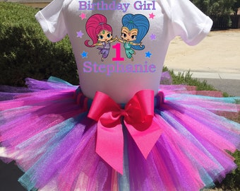 Shimmer And Shine Birthday Outfit, Shimmer And Shine First Birthday Outfit, Custom Shimmer And Shine Birthday Tutu Set, Personalized Shirt