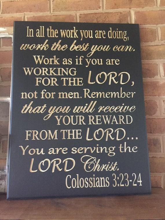 work as if working for the lord