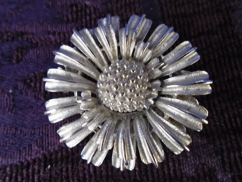 Vintage Silver CORO Floral PinBrooch~2 Pieces Joined Together~No Stones~Elaborate Texture~Signed~Silvertone~1 78 Diameter