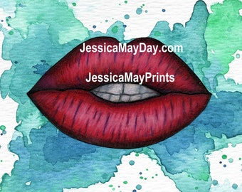 Red Lips on Aqua Watercolor Background