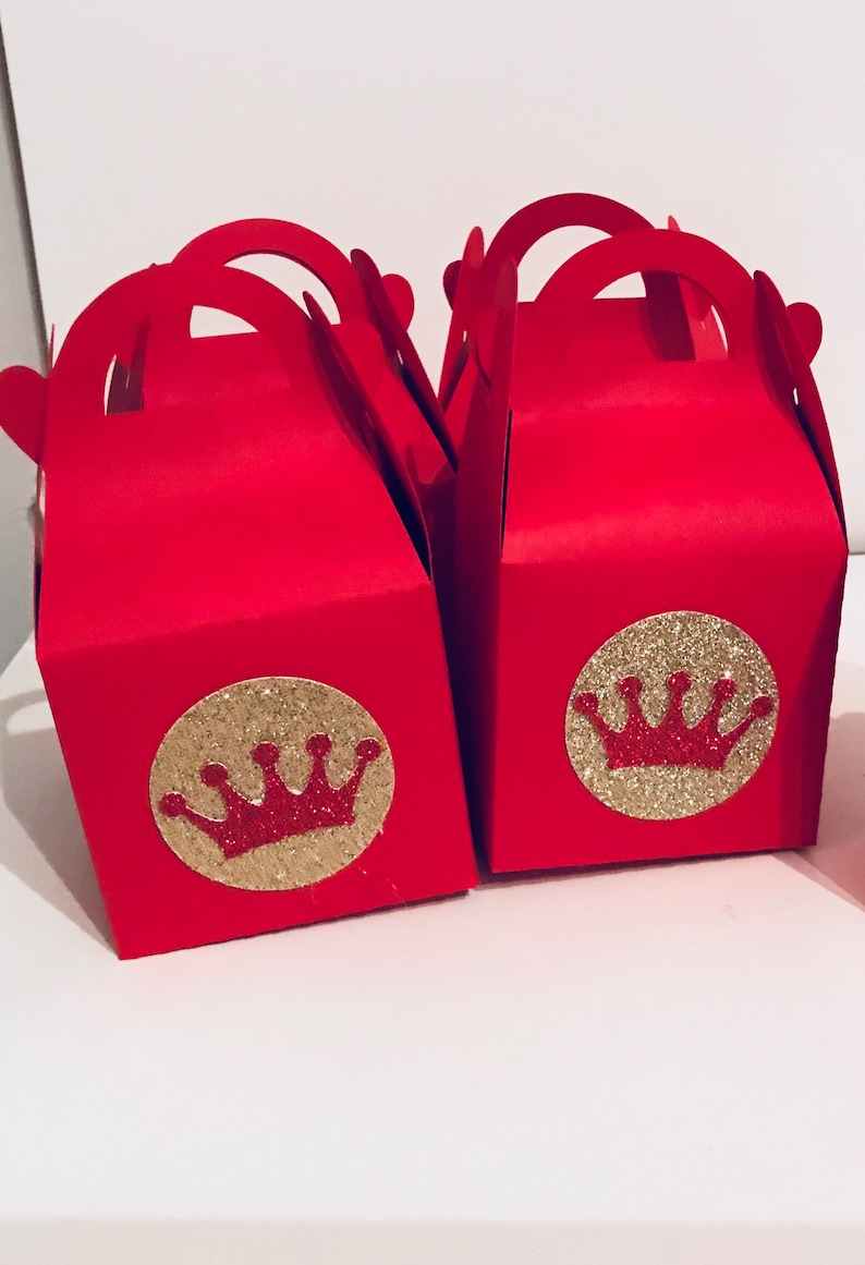 Royal Baby Shower Treat BoxesGable BoxesRed and Gold Favors Crown Favors King Shower Red and Gold Gable boxesRed boxes Candy boxes