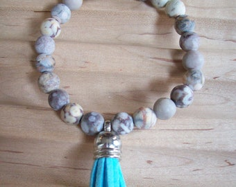 Mottled Beige Agate, Sterling Silver, and Tassel Bracelet