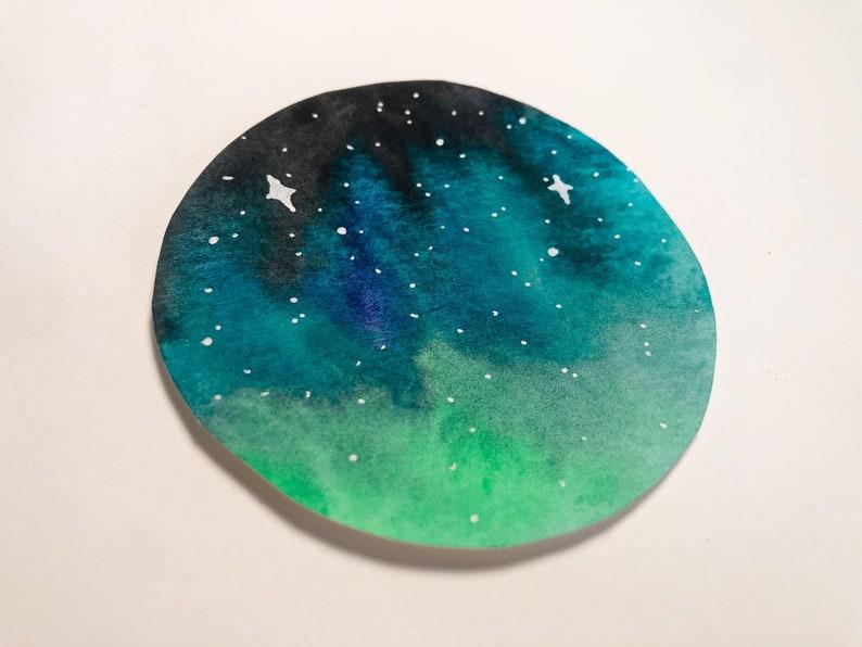 Winter Sky Circle Mini Watercolor Painting