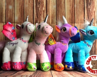 Unicorn Personalized Plush / Gift for Kid / Party Loot Bag  ***Canada***
