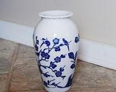 CLEARANCE Vintage Fireking Vitrock Vase Blue Floral Anchor Hocking