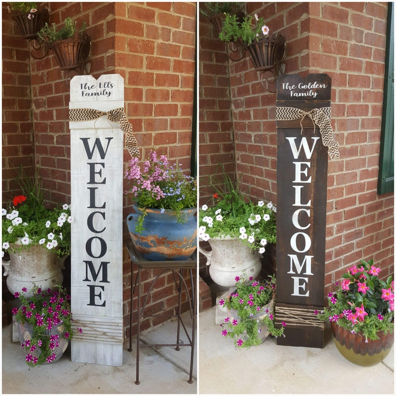 Personalized Welcome Sign For Front Door, Front Porch Decor, Large Vertical  Wood Welcome Sign, Cedar Wood Sign, Front Door Welcome Sign