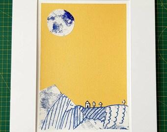 Full moon print collage, original print collage.