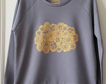Pansy print sweatshirt, handprinted organic cotton sweatshirt.