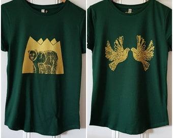 100% recycled fabric roll sleeve tshirt, hand screenprinted tshirts.