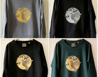 Hummingbird & Fuchsia print sweatshirt, women's organic cotton handprinted sweatshirt.