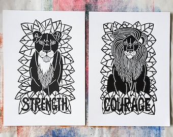 Lioness and lion print, courage of a lion and strength of a lioness print.